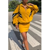 Lovely Casual Patchwork Zipper Design Yellow Two-p