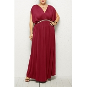 Lovely Casual V Neck Sleeveless Wine Red Ankle Length Plus Size Dress(Without Belt)