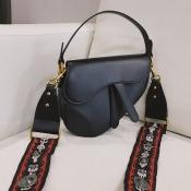 Lovely Trendy Buttons Design Black Crossbody Bag