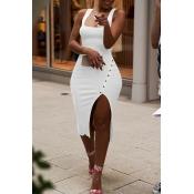 Lovely Casual Side Split White Knee Length Dress(W