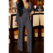 Lovely Work Deep V Neck Silver One-piece Jumpsuit