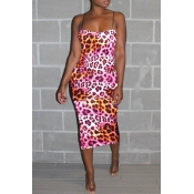 Lovely Sexy Spaghetti Straps Leopard Printed Light Pink Ankle Length Dress