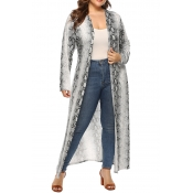 Lovely Casual Printed Grey Plus Size Coat