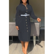 Lovely Sweet Turndown Collar Buttons Design Black Mid Calf Dress(Without Belt)