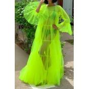 Lovely Sexy See-through Green Floor Length Dress
