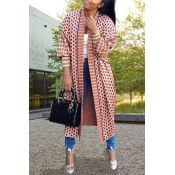 Lovely Casual  Printed Pink Coat