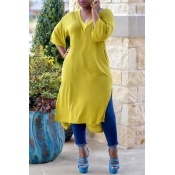 Lovely Casual V Neck Side Slit Design Yellow Blous