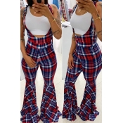 Lovely Casual Plaid Printed Multicolor One-piece J
