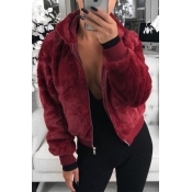 Lovely Casual Hooded Collar Wine Red Coat