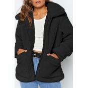 Lovely Leisure Zipper Design Black Coat