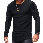 Lovely Casual O Neck Ruffle Design Black T-shirt