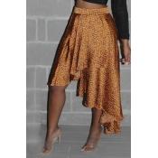 Lovely Trendy Printed Asymmetrical Gold Skirt