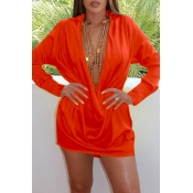 Lovely Sexy Turndown Collar Deep V Neck Jacinth Mi