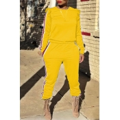 Lovely Casual Striped Flounce Design Yellow Two-piece Pants Set