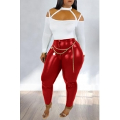 Lovely Chic Hollow-out Red Two-piece Pants Set