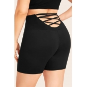 Lovely Casual Hollow-out Black Plus Size Shorts