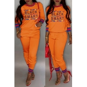 Lovely Casual Letter Printed Orange Two-piece Pant