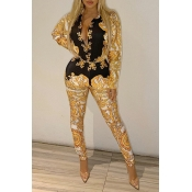 Lovely Chic Turndown Collar Printed Gold Two-piece