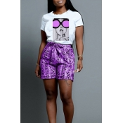 Lovely Trendy Printed Purple Two-piece Shorts Set