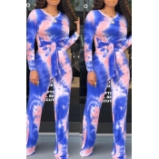 Lovely Trendy Knot Design Deep Blue Two-piece Pant