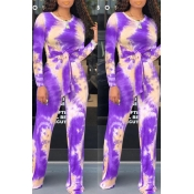 Lovely Trendy Knot Design Purple Two-piece Pants S