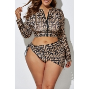 Lovely Printed Zipper Design Black Plus Size Two-p