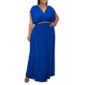 Lovely Casual V Neck Sleeveless Royal Blue Ankle L