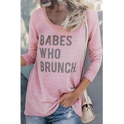 Lovely Casual Round Neck Letters Printed Pink Cott