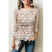 Lovely Trendy Round Neck See-through Apricot Cotto