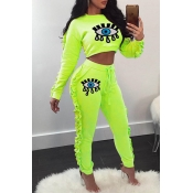 Lovely Casual Flounce Patchwork Green Two-piece Pants Set
