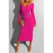 Lovely Work V Neck Skinny Rose Red Mid Calf Dress(