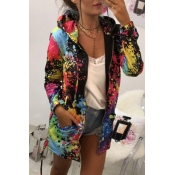 Lovely Trendy Hooded Collar Printed Black Coat