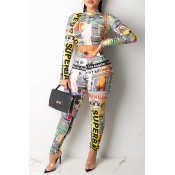Lovely Street Letter Printed Green Two-piece Pants