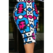 Lovely Work Printed Blue Knee Length Skirt