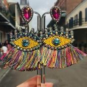 Lovely Trendy Tassel Design Multicolor Alloy Earri
