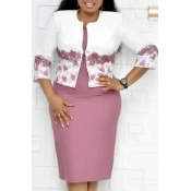 Lovely Casual Printed Dusty Pink Two-piece Skirt S