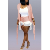 Lovely Casual Patchwork Apricot Two-piece Shorts Set(Without Tank Top)