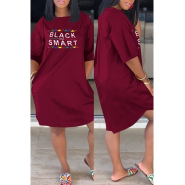 Lovely Casual Letter Printed Wine Red Knee Length Dress