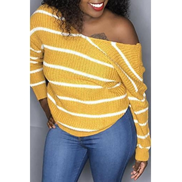Lovely Work Deep V Neck Striped Yellow Sweaters