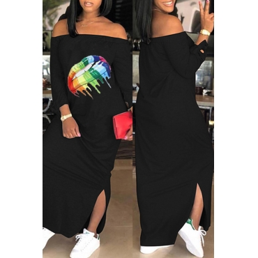 Lovely Casual Lip Printed Black Ankle Length Dress