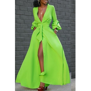Lovely Casual V Neck Buttons Design Green Floor Length Dress
