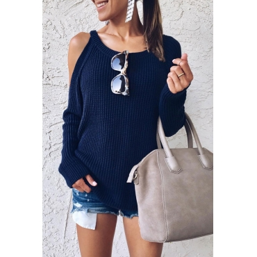 Lovely Dew Shoulder Blue Sweaters