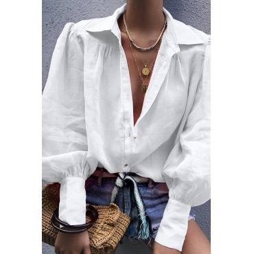 Lovely Trendy Turndown Collar White Blouse