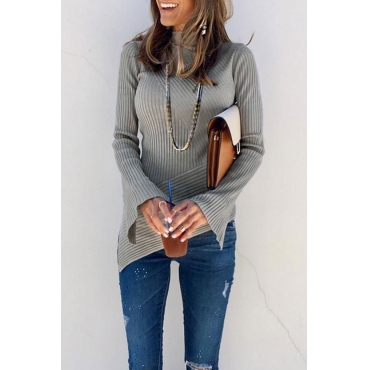 Lovely Striped Asymmetrical Grey Sweaters