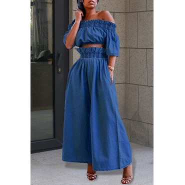 Lovely Casual Off The Shoulder Ruffle Design Blue Two-piece Pants Set