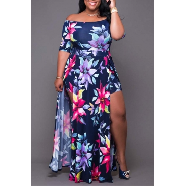 Lovely Casual Printed Deep Blue One-Piece Romper