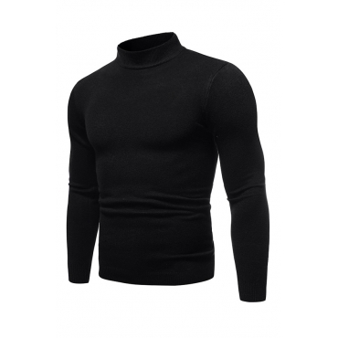 Lovely Casual Half A Turleneck Black Sweaters