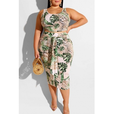 Lovely Casual Plants Printed Green Plus Size Two-piece Skirt Set