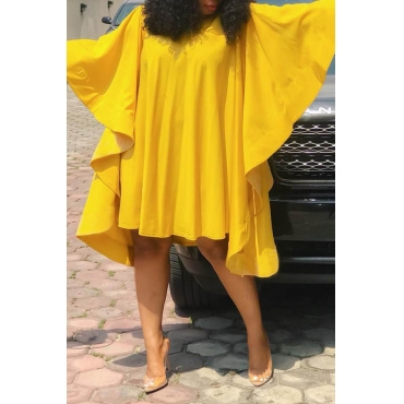 Lovely Chic Ruffle Design Loose Yellow Knee Length Dress