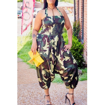 Lovely Leisure Camouflage Printed One-piece Jumpsuit